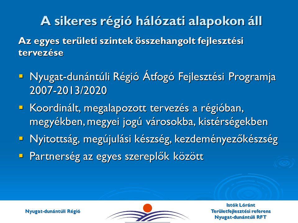 Nyugat-dunántúli Régió Istók Lóránt Területfejlesztési referens Nyugat-dunántúli RFT Az egyes területi szintek összehangolt fejlesztési tervezése  Nyugat-dunántúli Régió Átfogó Fejlesztési Programja 2007-2013/2020  Koordinált, megalapozott tervezés a régióban, megyékben, megyei jogú városokba, kistérségekben  Nyitottság, megújulási készség, kezdeményezőkészség  Partnerség az egyes szereplők között A sikeres régió hálózati alapokon áll