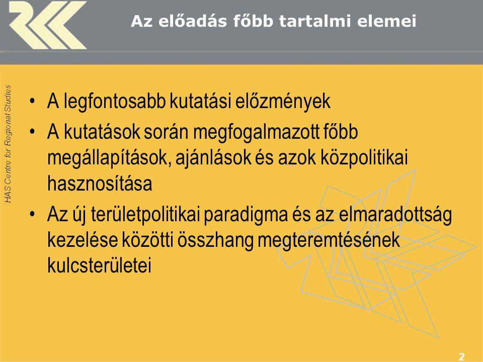 HAS Centre for Regional Studies 3 Az elmaradottság kutatásának legfőbb mérföldkövei az RKK-ban Beluszky Pál, Enyedi György munkássága –főbb kutatási területek: az elmaradott területek és azok fejlesztési problémái –az Alföld-problematika –a kisfalvak sorsa –a területi egyenlőtlenségek és a területfejlesztési politika kapcsolata Akik még hatottak ránk: Kemény István, Ferge Zsuzsa, Szalai Júlia, Solt Ottília, Vercseg Ilona és még sokan mások…