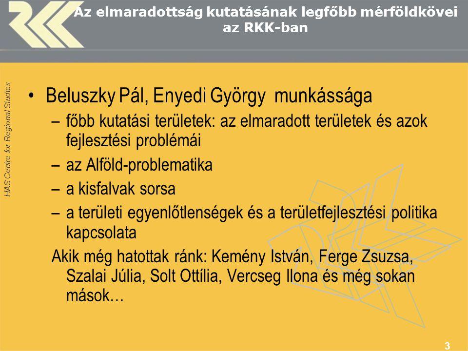 HAS Centre for Regional Studies 3 Az elmaradottság kutatásának legfőbb mérföldkövei az RKK-ban Beluszky Pál, Enyedi György munkássága –főbb kutatási t