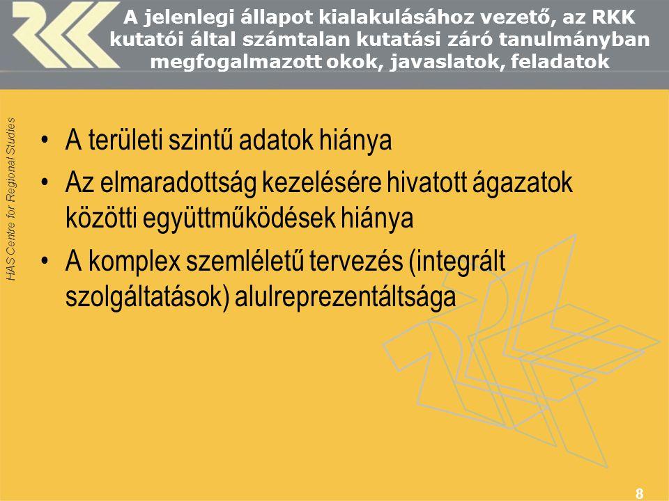 HAS Centre for Regional Studies 9 A legfontosabb teendők (Gáspár.
