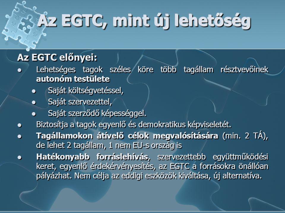 Az EGTC, mint új lehetőség Az EGTC előnyei: Lehetséges tagok széles köre több tagállam résztvevőinek autonóm testülete Saját költségvetéssel, Saját szervezettel, Saját szerződő képességgel.