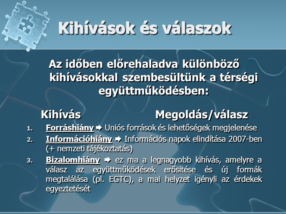 Kihívások és válaszok Az időben előrehaladva különböző kihívásokkal szembesültünk a térségi együttműködésben: KihívásMegoldás/válasz 1.