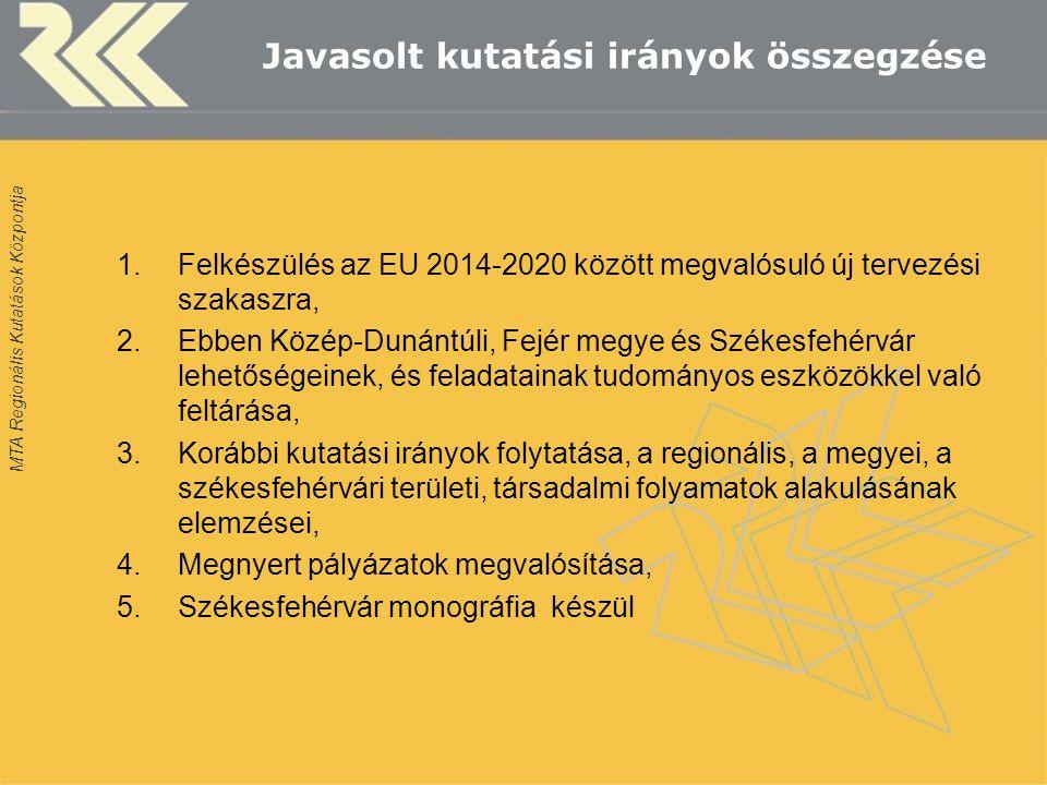 MTA Regionális Kutatások Központja Javasolt kutatási irányok összegzése 1.Felkészülés az EU 2014-2020 között megvalósuló új tervezési szakaszra, 2.Ebben Közép-Dunántúli, Fejér megye és Székesfehérvár lehetőségeinek, és feladatainak tudományos eszközökkel való feltárása, 3.Korábbi kutatási irányok folytatása, a regionális, a megyei, a székesfehérvári területi, társadalmi folyamatok alakulásának elemzései, 4.Megnyert pályázatok megvalósítása, 5.Székesfehérvár monográfia készül