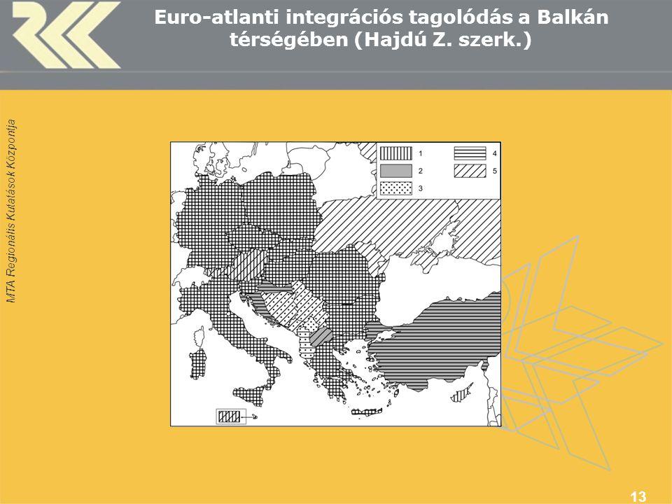 MTA Regionális Kutatások Központja 13 Euro-atlanti integrációs tagolódás a Balkán térségében (Hajdú Z. szerk.)