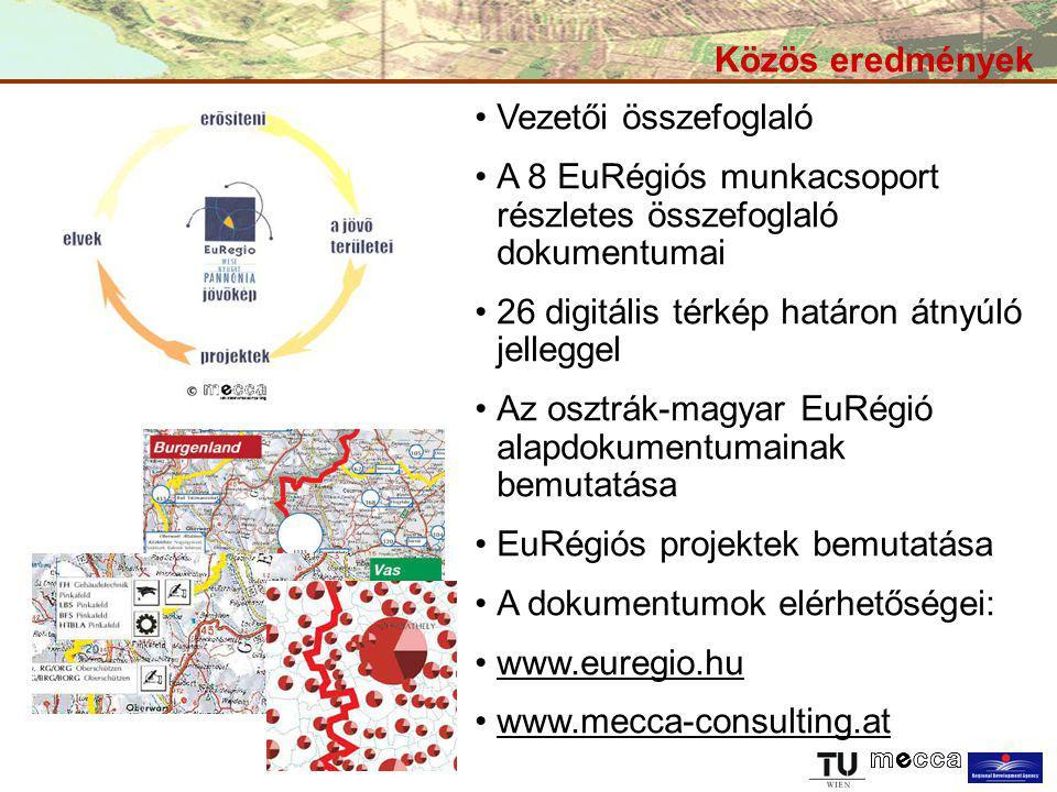 Közös eredmények Vezetői összefoglaló A 8 EuRégiós munkacsoport részletes összefoglaló dokumentumai 26 digitális térkép határon átnyúló jelleggel Az o