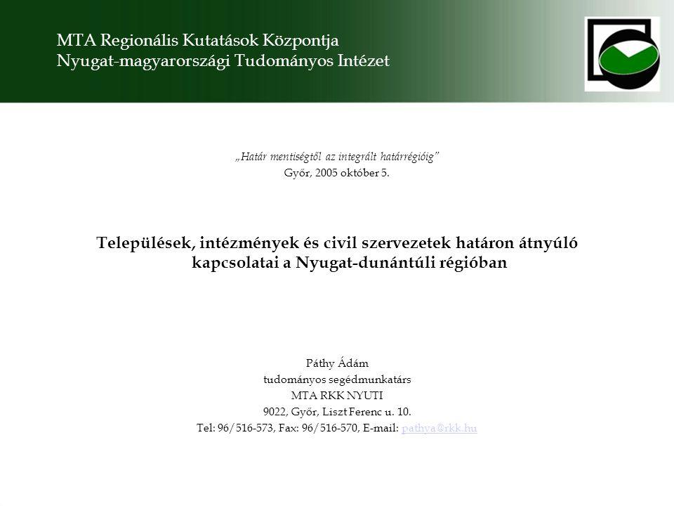 """MTA Regionális Kutatások Központja Nyugat-magyarországi Tudományos Intézet """"Határ mentiségtől az integrált határrégióig Győr, 2005 október 5."""