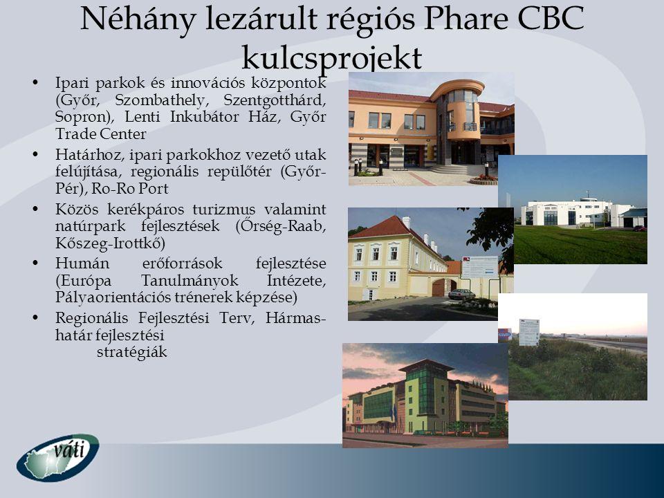 Néhány lezárult régiós Phare CBC kulcsprojekt Ipari parkok és innovációs központok (Győr, Szombathely, Szentgotthárd, Sopron), Lenti Inkubátor Ház, Gy