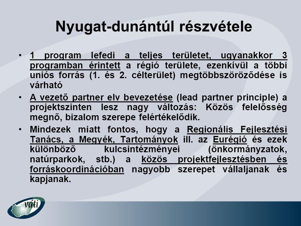 Nyugat-dunántúl részvétele 1 program lefedi a teljes területet, ugyanakkor 3 programban érintett a régió területe, ezenkívül a többi uniós forrás (1.