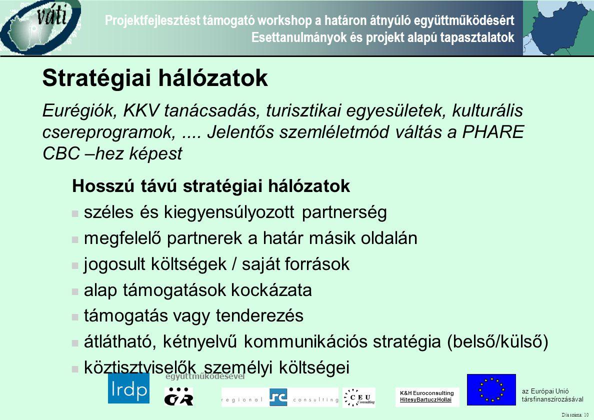 Dia száma: 10 Projektfejlesztést támogató workshop a határon átnyúló együttműködésért Esettanulmányok és projekt alapú tapasztalatok az Európai Unió t