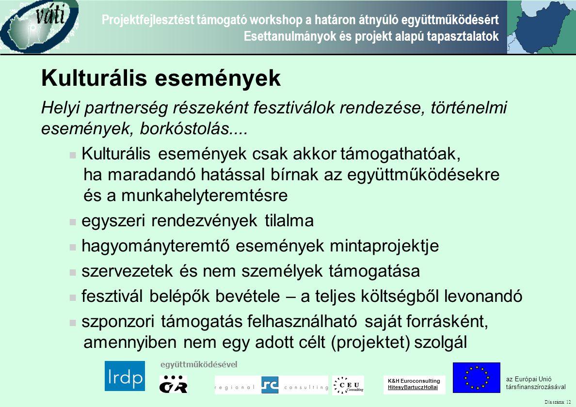 Dia száma: 12 Projektfejlesztést támogató workshop a határon átnyúló együttműködésért Esettanulmányok és projekt alapú tapasztalatok az Európai Unió társfinanszírozásával együttműködésével K&H Euroconsulting HitesyBartuczHollai Kulturális események Helyi partnerség részeként fesztiválok rendezése, történelmi események, borkóstolás....