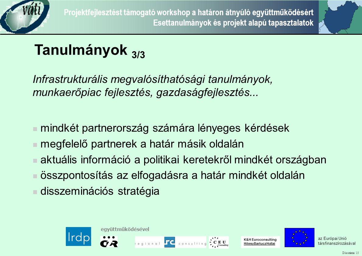 Dia száma: 15 Projektfejlesztést támogató workshop a határon átnyúló együttműködésért Esettanulmányok és projekt alapú tapasztalatok az Európai Unió t