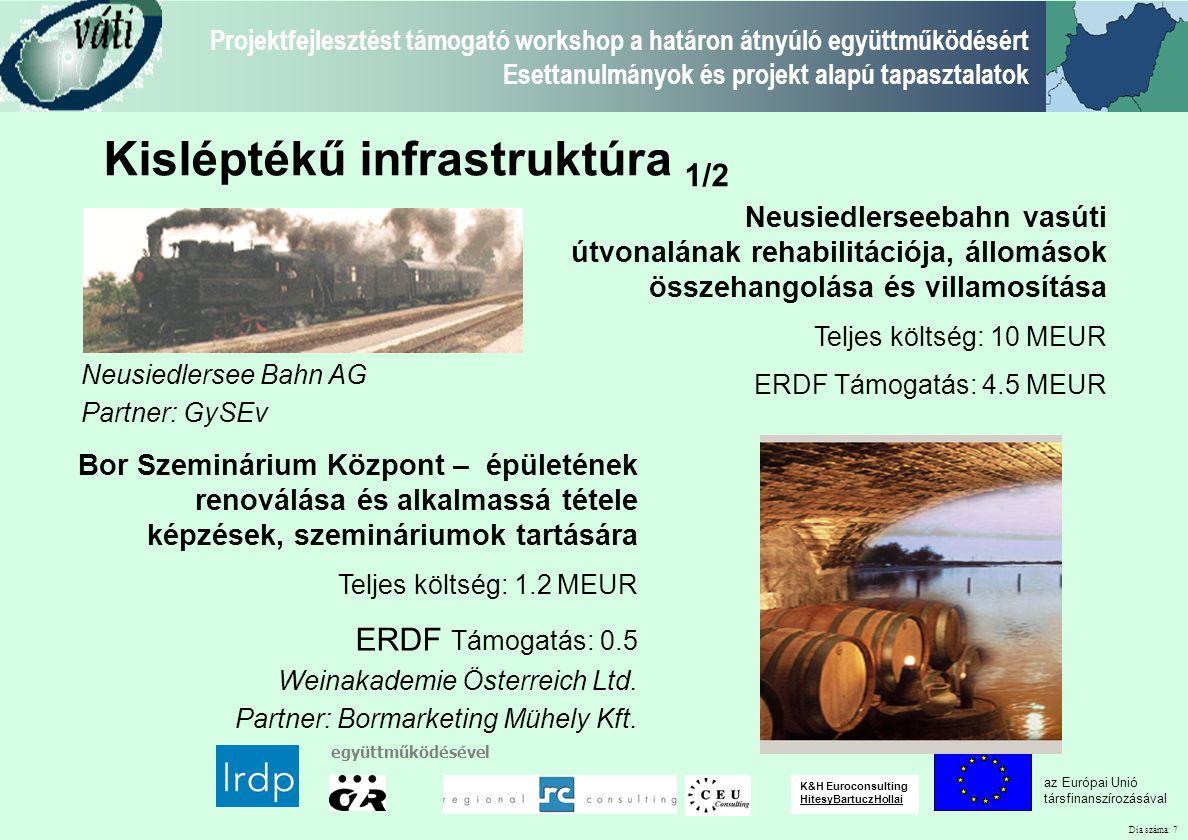 Dia száma: 7 Projektfejlesztést támogató workshop a határon átnyúló együttműködésért Esettanulmányok és projekt alapú tapasztalatok az Európai Unió tá