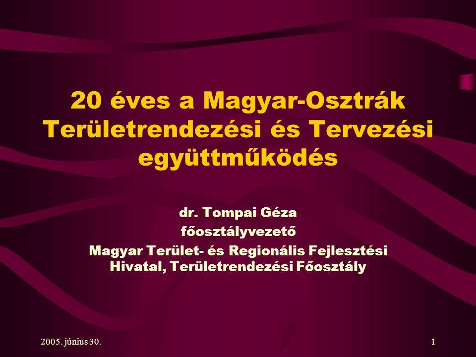 2005. június 30.1 20 éves a Magyar-Osztrák Területrendezési és Tervezési együttműködés dr.