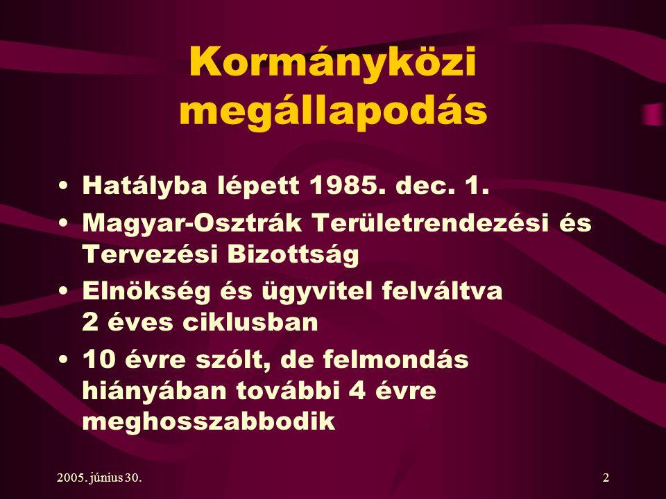 2005. június 30.2 Kormányközi megállapodás Hatályba lépett 1985.