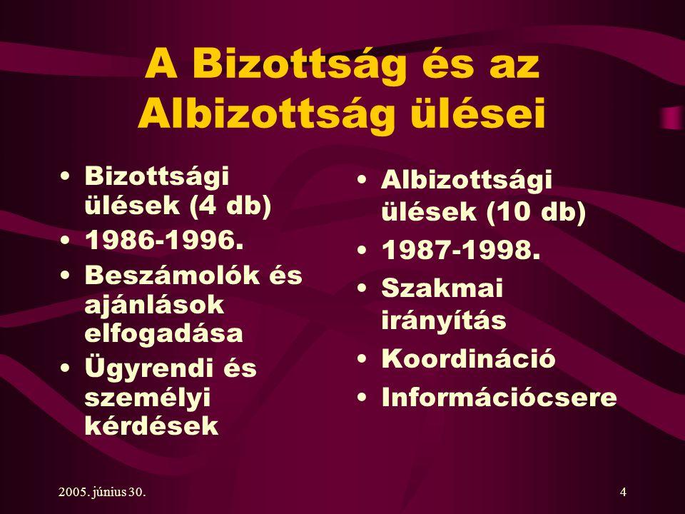 2005. június 30.4 A Bizottság és az Albizottság ülései Bizottsági ülések (4 db) 1986-1996.