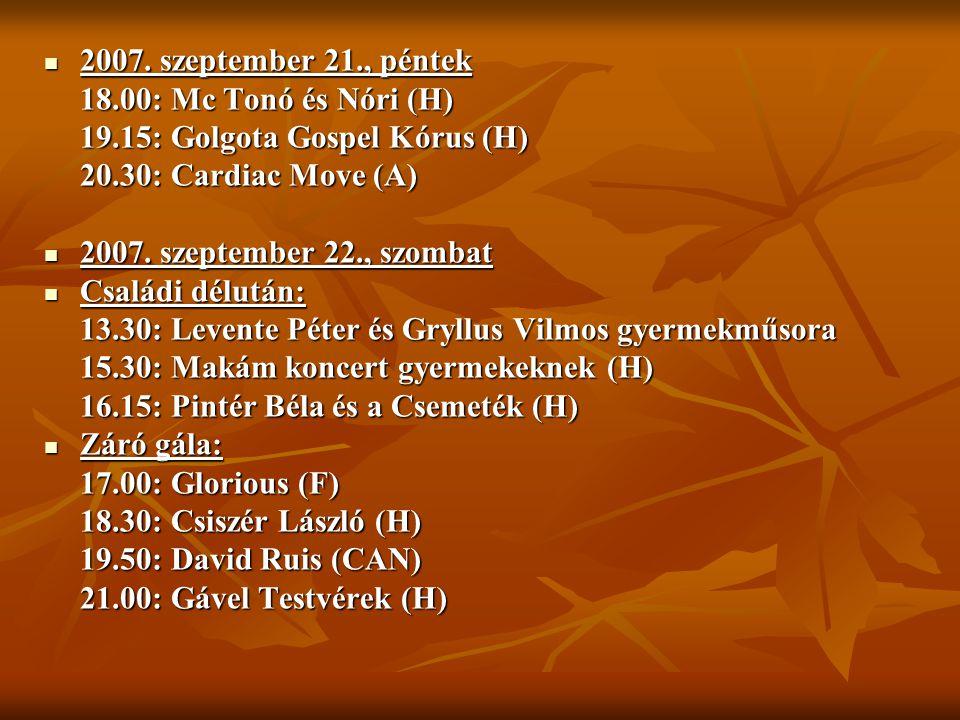 2007. szeptember 21., péntek 2007. szeptember 21., péntek 18.00: Mc Tonó és Nóri (H) 19.15: Golgota Gospel Kórus (H) 20.30: Cardiac Move (A) 2007. sze