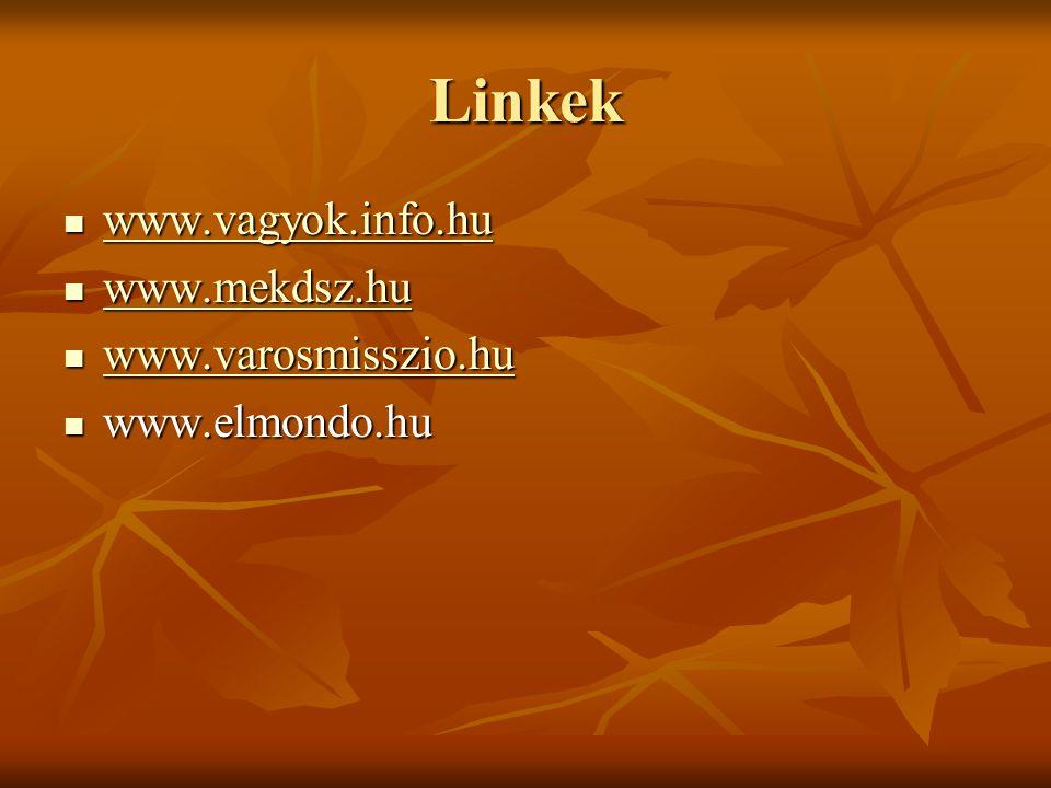Linkek www.vagyok.info.hu www.vagyok.info.hu www.vagyok.info.hu www.mekdsz.hu www.mekdsz.hu www.mekdsz.hu www.varosmisszio.hu www.varosmisszio.hu www.