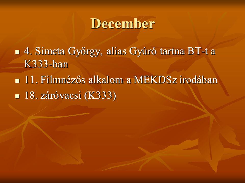 December 4. Simeta Győrgy, alias Gyúró tartna BT-t a K333-ban 4. Simeta Győrgy, alias Gyúró tartna BT-t a K333-ban 11. Filmnézős alkalom a MEKDSz irod