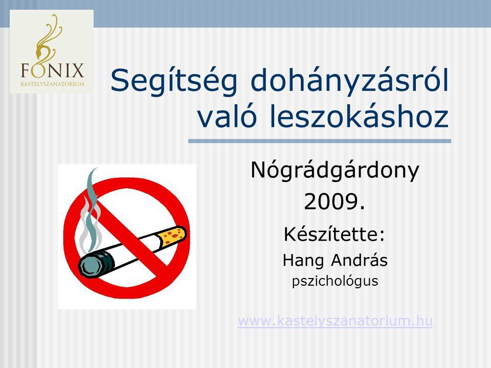 Segítség dohányzásról való leszokáshoz Nógrádgárdony 2009.