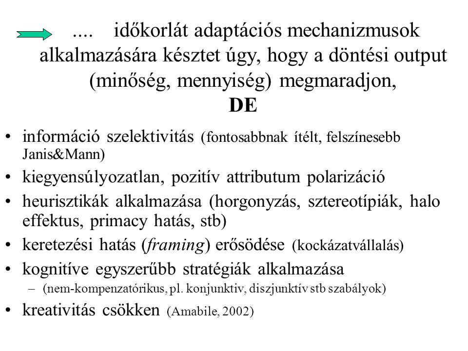 problémaorientált viselkedés intenzitása Idő határidő Figyelem allokáció (Zakay, 1993).