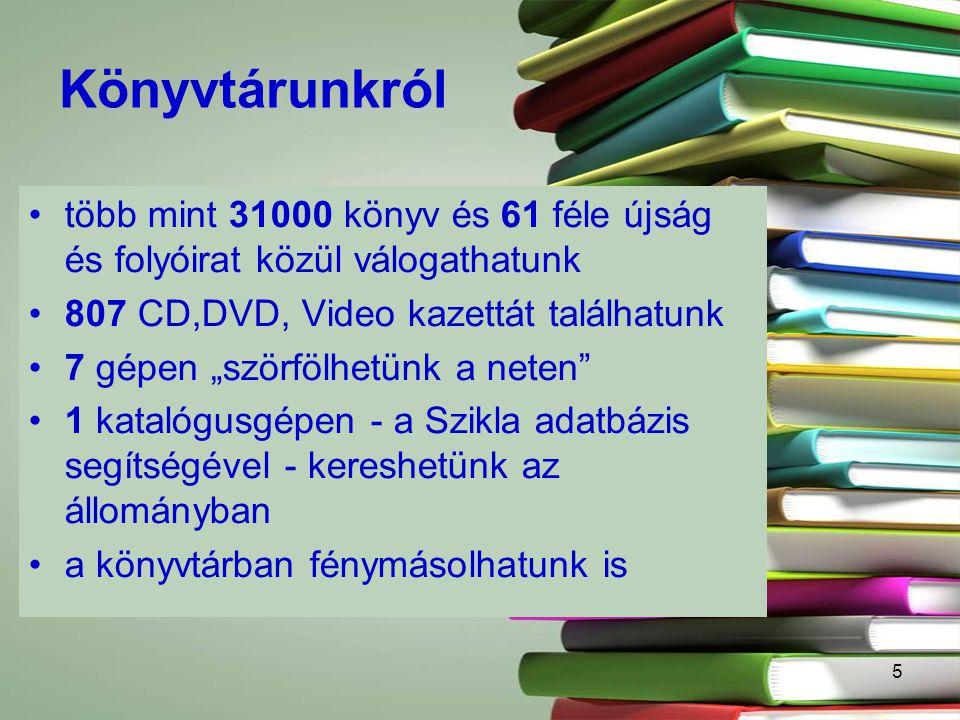 """5 Könyvtárunkról több mint 31000 könyv és 61 féle újság és folyóirat közül válogathatunk 807 CD,DVD, Video kazettát találhatunk 7 gépen """"szörfölhetünk a neten 1 katalógusgépen - a Szikla adatbázis segítségével - kereshetünk az állományban a könyvtárban fénymásolhatunk is"""