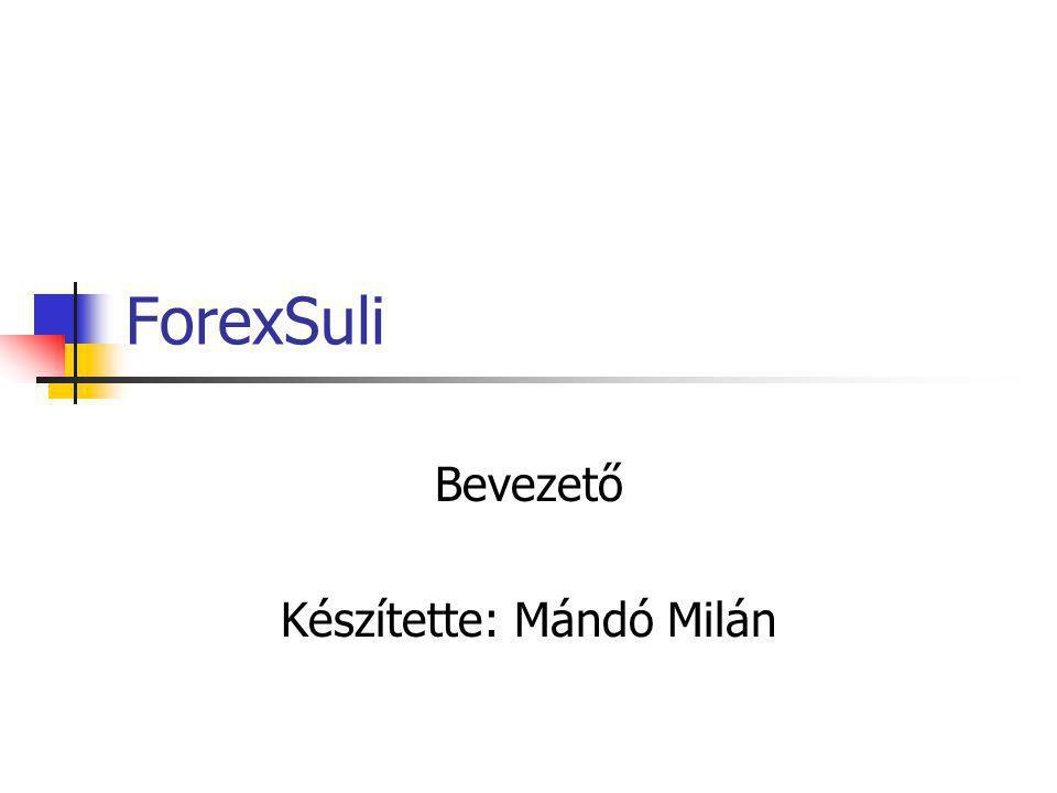 ForexSuli Bevezető Készítette: Mándó Milán