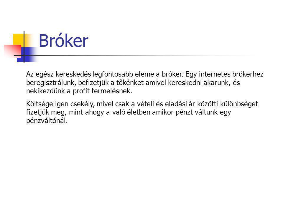 Bróker Az egész kereskedés legfontosabb eleme a bróker. Egy internetes brókerhez beregisztrálunk, befizetjük a tőkénket amivel kereskedni akarunk, és