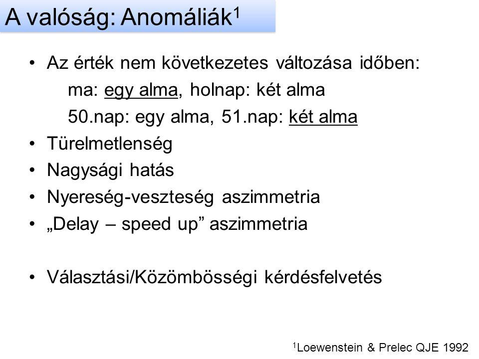 """Az érték nem következetes változása időben: ma: egy alma, holnap: két alma 50.nap: egy alma, 51.nap: két alma Türelmetlenség Nagysági hatás Nyereség-veszteség aszimmetria """"Delay – speed up aszimmetria Választási/Közömbösségi kérdésfelvetés 1 Loewenstein & Prelec QJE 1992 A valóság: Anomáliák 1"""