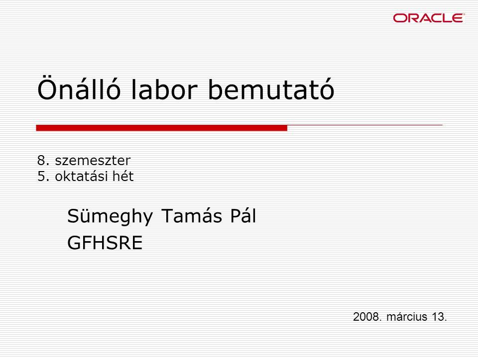 Önálló labor bemutató 8. szemeszter 5. oktatási hét Sümeghy Tamás Pál GFHSRE 2008. március 13.