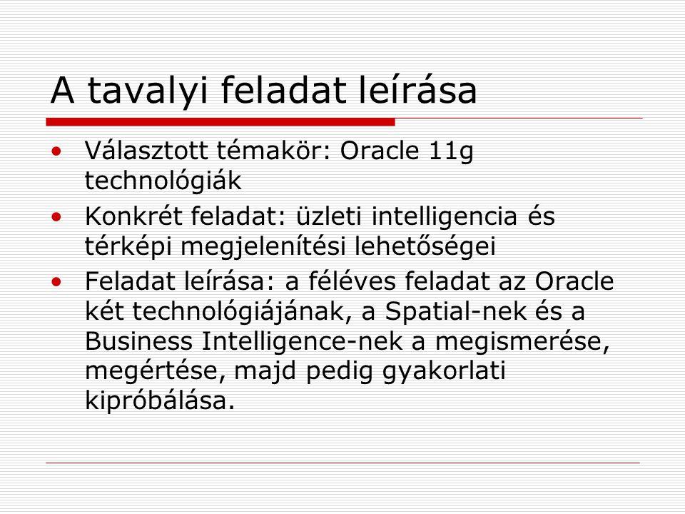 Elméleti háttér Oracle Spatial  Adatmodell  Metaadatok  Indexelés  Kétszintű lekérdező modell  Koordinátarendszerek  Geokódolás Business Intelligence (BI)