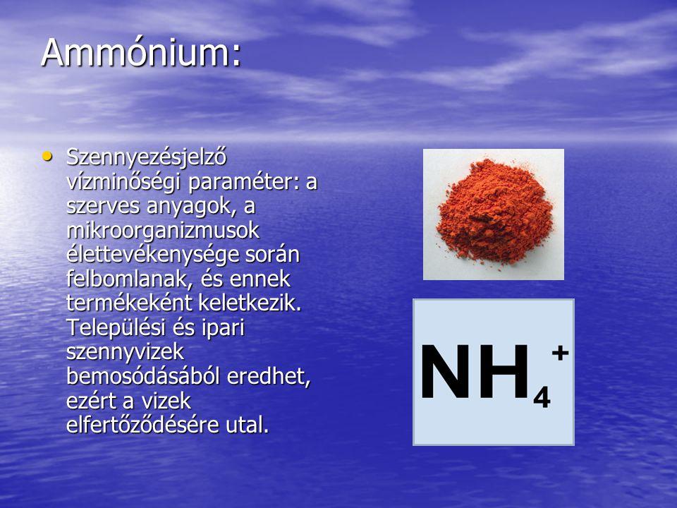Ammónium: Szennyezésjelző vízminőségi paraméter: a szerves anyagok, a mikroorganizmusok élettevékenysége során felbomlanak, és ennek termékeként keletkezik.