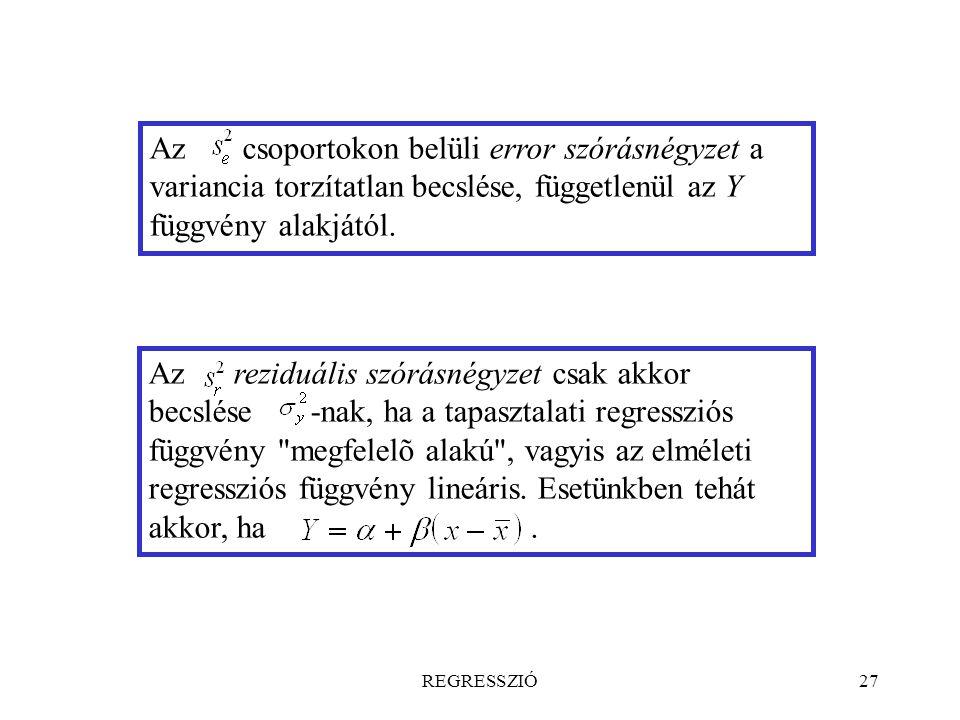REGRESSZIÓ27 Az csoportokon belüli error szórásnégyzet a variancia torzítatlan becslése, függetlenül az Y függvény alakjától. Az reziduális szórásnégy