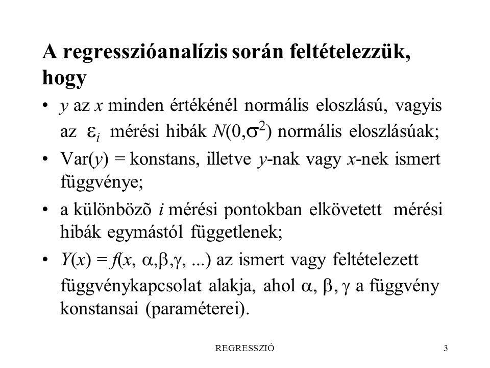 REGRESSZIÓ54 4. A szórás (variancia, mérési pontosság) változása