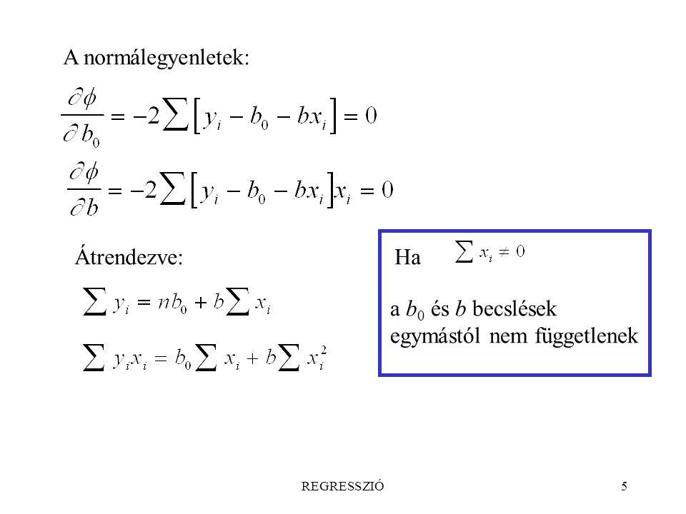 REGRESSZIÓ5 A normálegyenletek: Átrendezve:Ha a b 0 és b becslések egymástól nem függetlenek