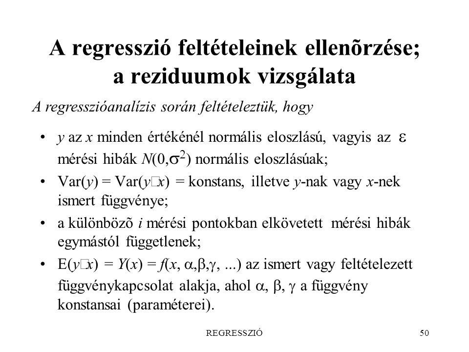 REGRESSZIÓ50 A regresszió feltételeinek ellenõrzése; a reziduumok vizsgálata A regresszióanalízis során feltételeztük, hogy y az x minden értékénél no