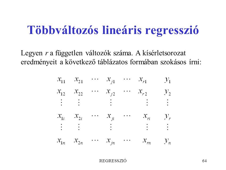 REGRESSZIÓ64 Többváltozós lineáris regresszió Legyen r a független változók száma. A kísérletsorozat eredményeit a következő táblázatos formában szoká