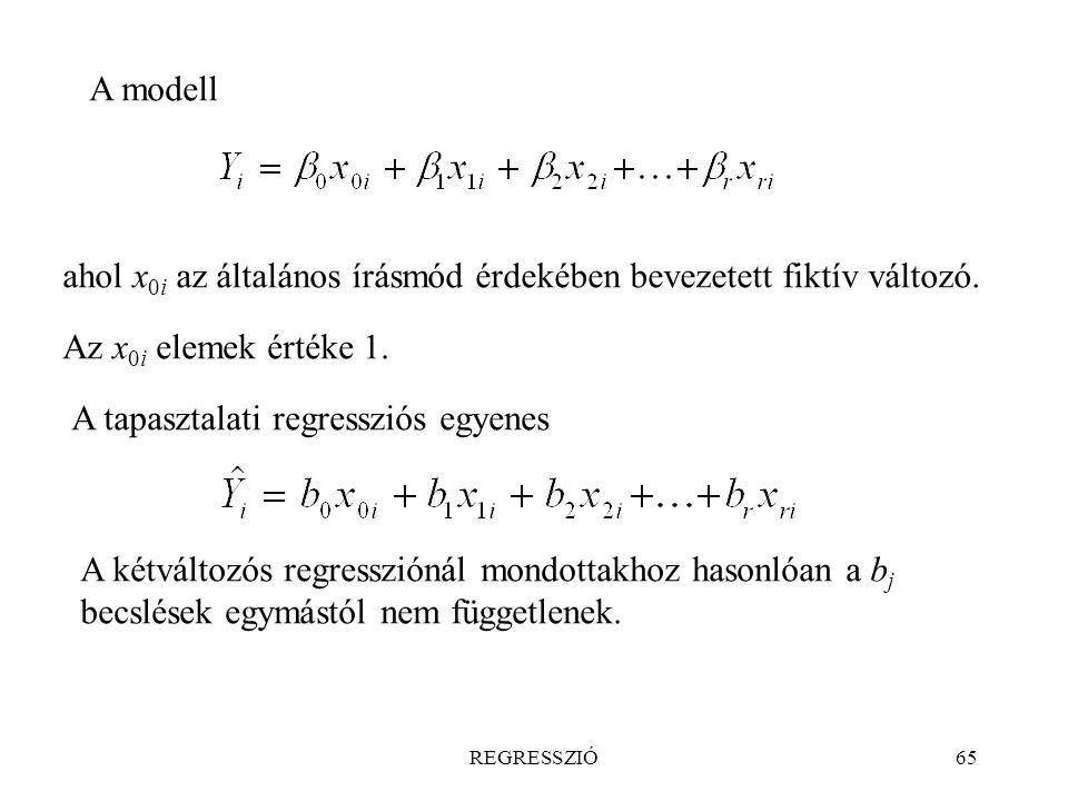 REGRESSZIÓ65 A modell ahol x 0i az általános írásmód érdekében bevezetett fiktív változó. Az x 0i elemek értéke 1. A tapasztalati regressziós egyenes