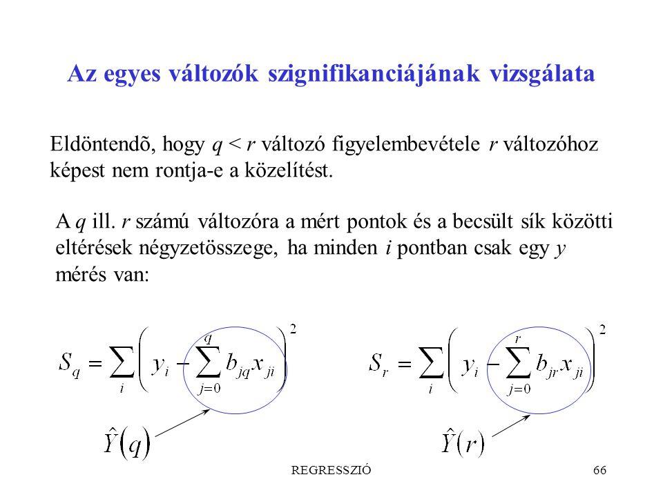 REGRESSZIÓ66 Az egyes változók szignifikanciájának vizsgálata Eldöntendõ, hogy q < r változó figyelembevétele r változóhoz képest nem rontja-e a közel