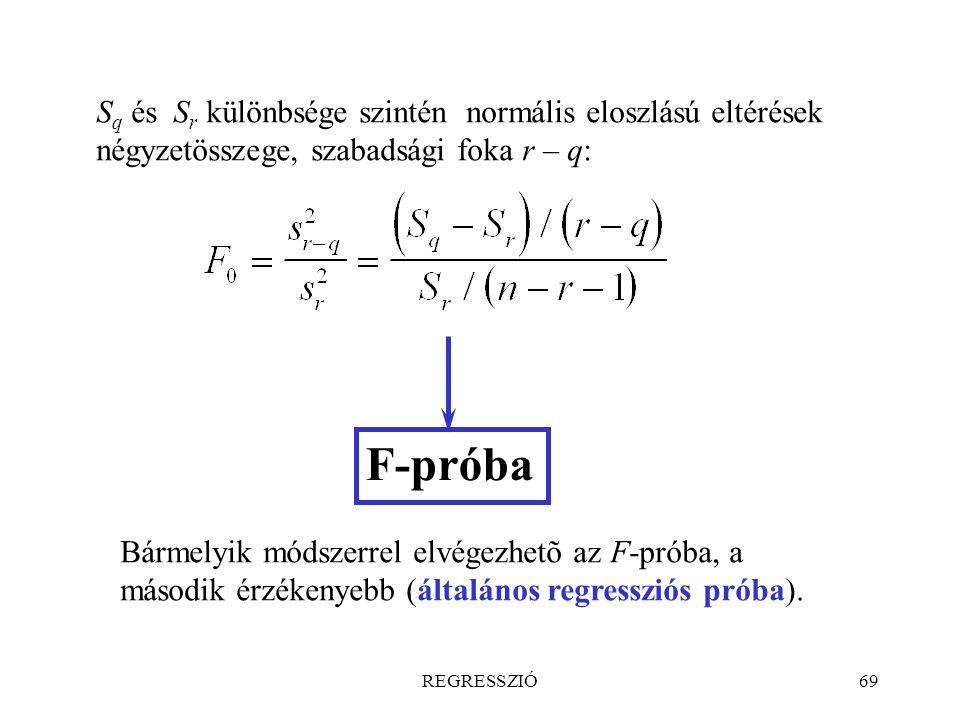 REGRESSZIÓ69 S q és S r különbsége szintén normális eloszlású eltérések négyzetösszege, szabadsági foka r – q: F-próba Bármelyik módszerrel elvégezhet