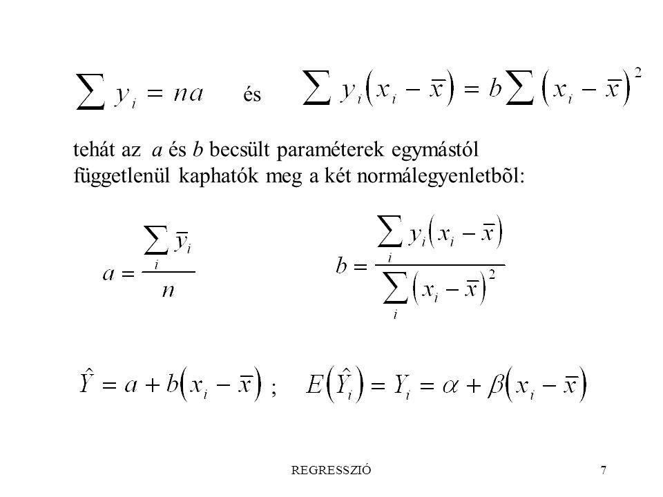 REGRESSZIÓ38 Egyváltozós lineáris regresszió ismételt mérések esetén,   nem konstans A becslési kritérium: A négyzetösszeg felbontható: