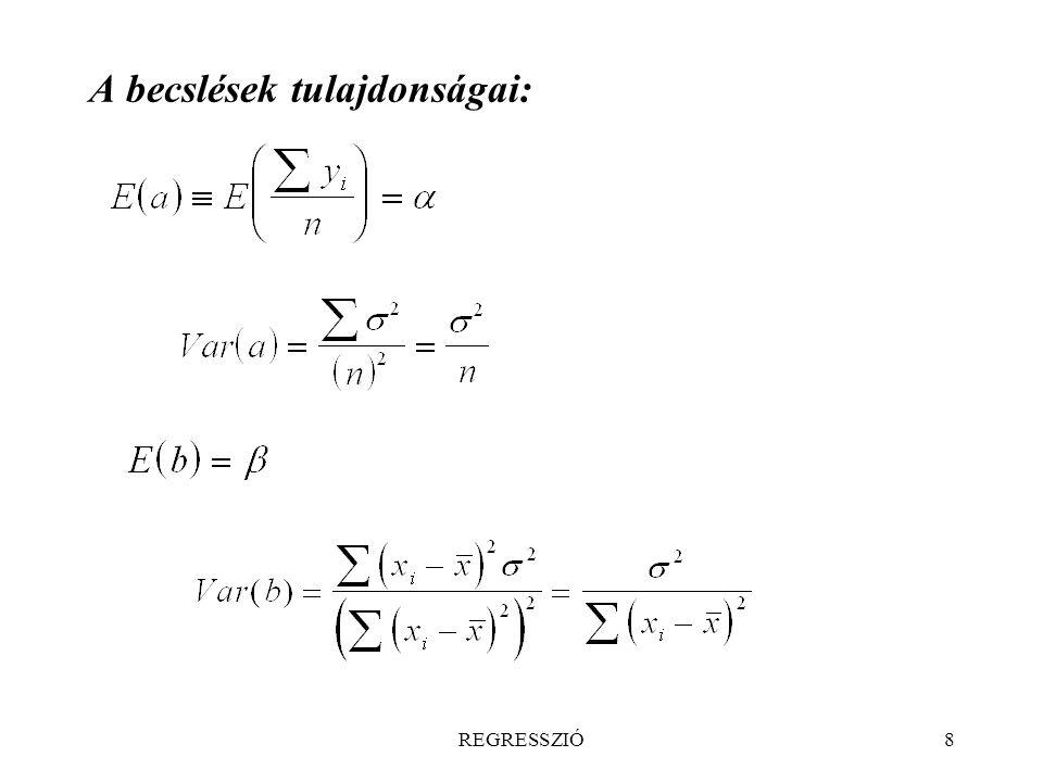 REGRESSZIÓ69 S q és S r különbsége szintén normális eloszlású eltérések négyzetösszege, szabadsági foka r – q: F-próba Bármelyik módszerrel elvégezhetõ az F-próba, a második érzékenyebb (általános regressziós próba).