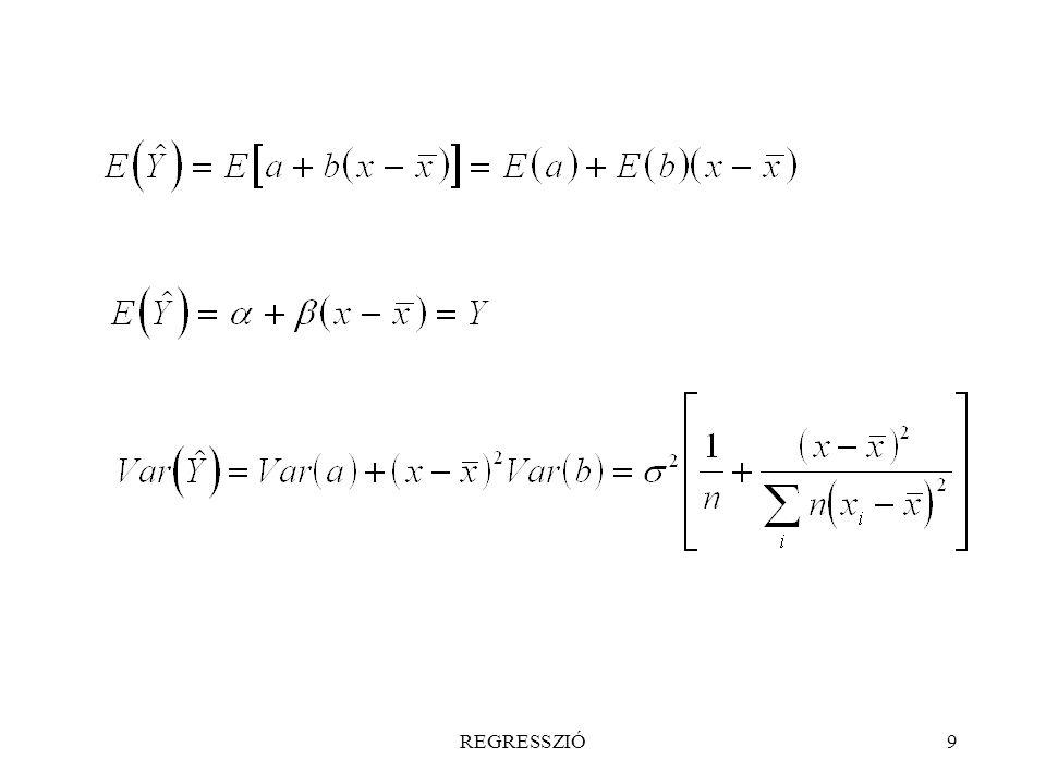 REGRESSZIÓ50 A regresszió feltételeinek ellenõrzése; a reziduumok vizsgálata A regresszióanalízis során feltételeztük, hogy y az x minden értékénél normális eloszlású, vagyis az  mérési hibák N(0,   ) normális eloszlásúak; Var(y) = Var(y  x) = konstans, illetve y-nak vagy x-nek ismert függvénye; a különbözõ i mérési pontokban elkövetett mérési hibák egymástól függetlenek; E(y  x) = Y(x) = f(x, ...) az ismert vagy feltételezett függvénykapcsolat alakja, ahol   a függvény konstansai (paraméterei).