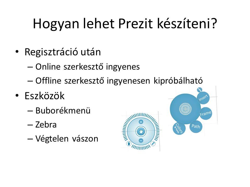 Hogyan lehet Prezit készíteni? Regisztráció után – Online szerkesztő ingyenes – Offline szerkesztő ingyenesen kipróbálható Eszközök – Buborékmenü – Ze