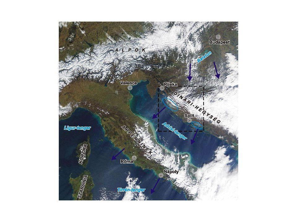 Az a légáramlat, amely később az Adria viharát kelti, először a Nyugat-Dunántúlon, az Alpok és a Bakony közötti szélcsatorna folytatásában vehető észre, hiszen felhőutak (a felhők szélirányban rendezett sora) rajzolják ki irányát.