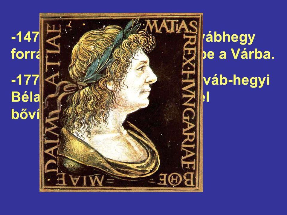-1470-ben Mátyás király a Svábhegy forrásainak vizét vezettette be a Várba.