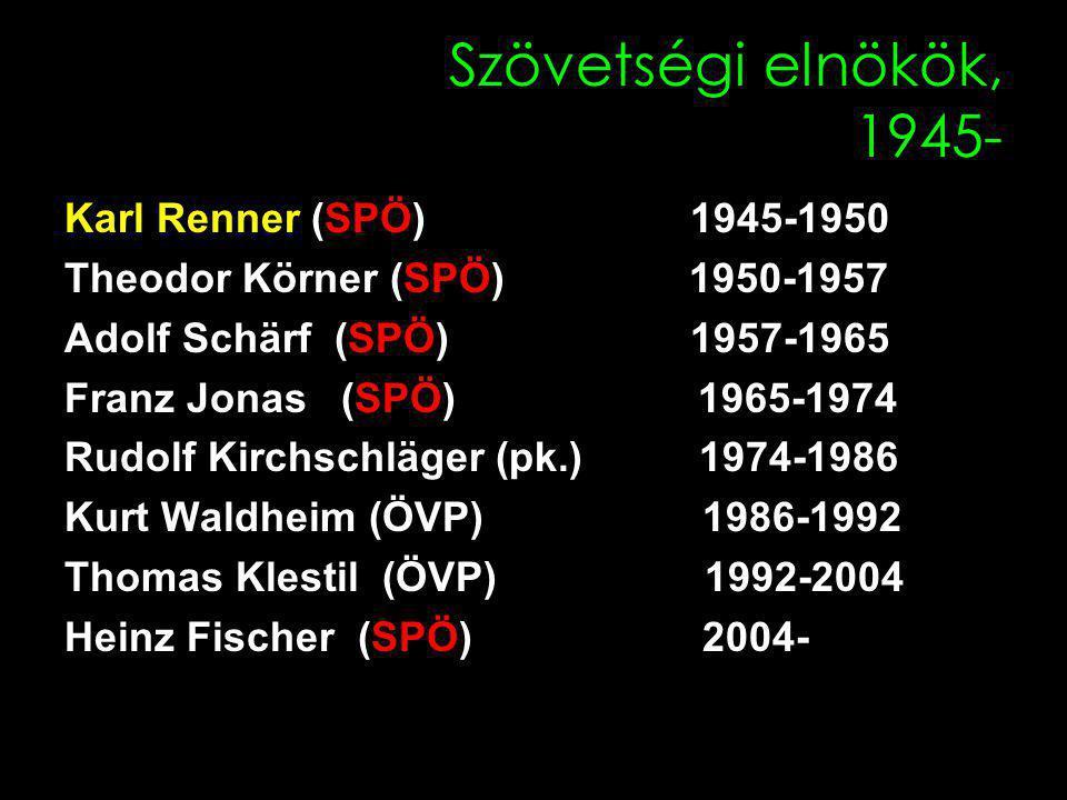 Szövetségi elnökök, 1945- Karl Renner (SPÖ) 1945-1950 Theodor Körner (SPÖ) 1950-1957 Adolf Schärf (SPÖ) 1957-1965 Franz Jonas (SPÖ) 1965-1974 Rudolf Kirchschläger (pk.) 1974-1986 Kurt Waldheim (ÖVP) 1986-1992 Thomas Klestil (ÖVP) 1992-2004 Heinz Fischer (SPÖ) 2004-