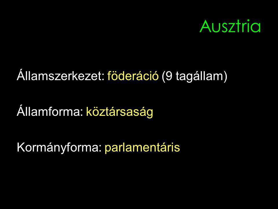 Fontosabb történeti dátumok 1918 Az 1.Köztársaság megalakulása 1920 Alkotmány elfogadása 1934 Polgárháborús helyzet 1938 Ausztria Németország része lesz 1945 Ausztria ismét önálló állam (2.Köztársaság) 1955 A négy megszálló hatalom elhagyja az országot 1995 Ausztria belép az EU-ba