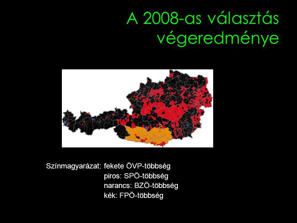 A 2008-as választás végeredménye Színmagyarázat: fekete ÖVP-többség piros: SPÖ-többség narancs: BZÖ-többség kék: FPÖ-többség