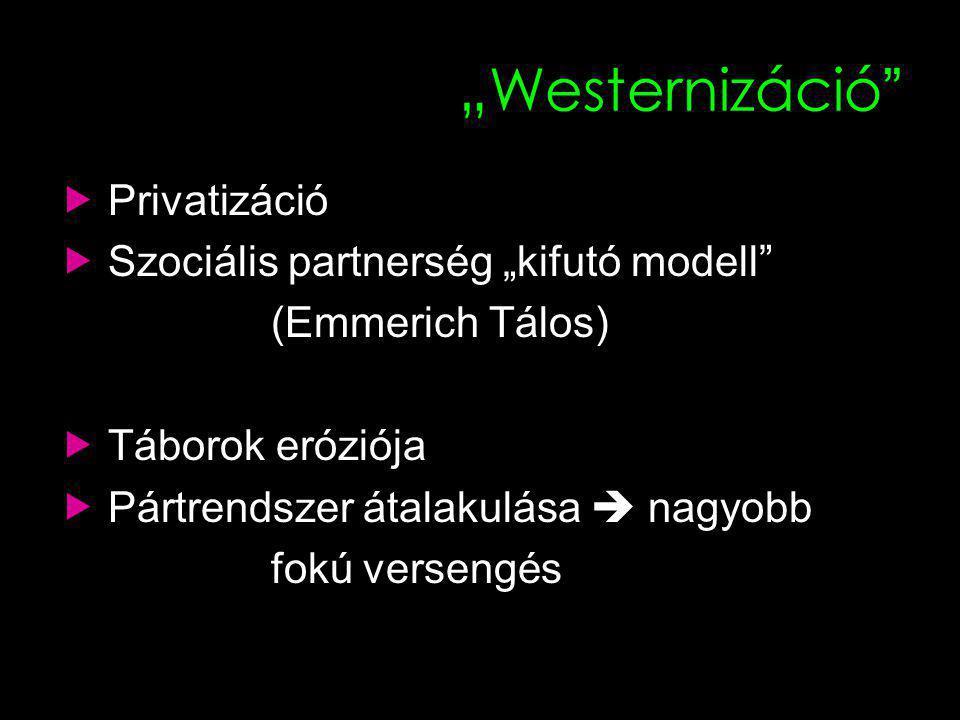 """""""Westernizáció  Privatizáció  Szociális partnerség """"kifutó modell (Emmerich Tálos)  Táborok eróziója  Pártrendszer átalakulása  nagyobb fokú versengés"""