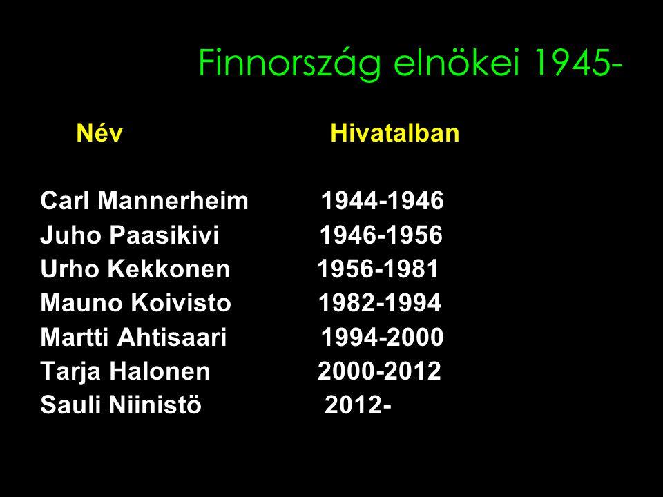 Finnország elnökei 1945- Név Hivatalban Carl Mannerheim 1944-1946 Juho Paasikivi 1946-1956 Urho Kekkonen 1956-1981 Mauno Koivisto 1982-1994 Martti Ahtisaari 1994-2000 Tarja Halonen 2000-2012 Sauli Niinistö 2012-